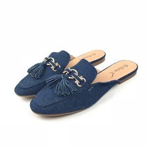 🆕 Women's Victoria K Denim Blue Slip On Mules